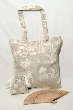 Shopping bags tote bags borsa estiva in puro lino 100% regalo mamma amica tema elefante indiano bianco grigio comoda in viaggio piegabile