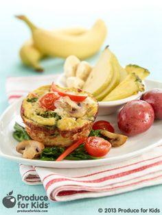 """Florentine Egg Mufins - These protein-packed """"muffins"""" are great for brunches or leisurely weekends. Cook the veggies ahead of time in step #2 for quicker assembly the day of. Or, make a batch to heat up for quick and easy breakfasts all week long! #glutenfree #nutfree #vegetarian #breakfast #recipe #produceforkids #healthy"""