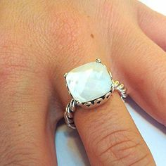 Authentic Genuine Pandora Sterling Silver Mother Of Pearl Path Ring Size 7