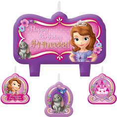 Light up the celebration for your little princess on her birthday with the Sofia the First Candle Set! Designed in pink and lavender shades, the 4 molded candles are sold in a set and come with 1 large candle that measures 3 inches x 2 inches and features a Happy Birthday Princess message with Sofia and her bunny friend. The 3 smaller candles measure 1.5 inches x 1.25 inches and feature images of a castle, Sofia�s woodland friends, and a portrait of Sofia with a phrase that reads Princess…