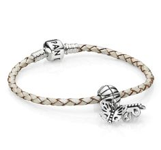 Capri Jewelers Arizona ~ www.caprijewelersaz.com  ~ White leather bracelet with dangle butterfly charm #PANODRA