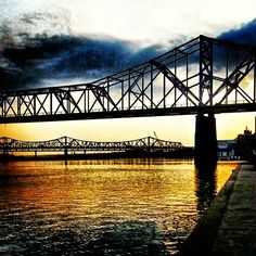 Sunrise over the Ohio River in Louisville.