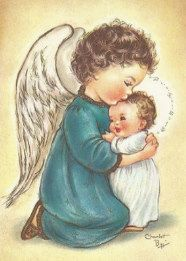 Vintage Christmas Greeting Card by artist Charlot Byj Angel with child. Vintage Greeting Cards, Vintage Christmas Cards, Vintage Holiday, Christmas Greeting Cards, Christmas Pictures, Christmas Greetings, Vintage Postcards, Christmas Angels, Christmas Art