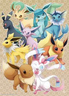 Eeveelutions: Dream Team by Sanatio ... eevee, sylveon, jolteon, flareon, espeon, umbreon, leafeon, glaceon, vaporeon, pokemon
