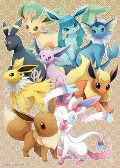 Eeveelutions: Dream Team by Sanatio ... eevee, sylveon, jolteon, flareon, espeon, umbreon, leafeon, glaceon, vaporeon, pokemon