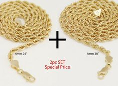 Mens Womens 14K Yellow Gold Plated 4 mm Rope Chain Necklace 2430 2pc Set - Yellow Gold Plated Chain - Ideas of Yellow Gold Plated Chain #YellowGoldPlatedChain