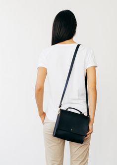 930fb9de38 Lucy - Boxy Black Leather Cross-body Bag