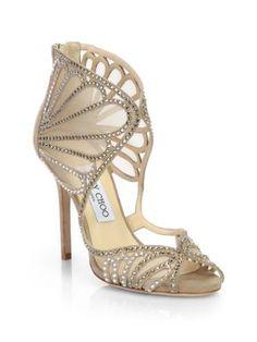 Jimmy Choo - Vermiel Glitter & Metallic Leather Strappy Sandals - Saks.com