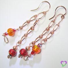 Balancing Red and Orange dangle earrings [lampwork, Czech, copper]