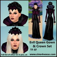 Evil Queen's gown and crown at Sims 4 Nexus via Sims 4 Updates