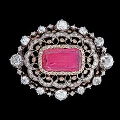 Circa 1850 Russian pink tourmaline and diamond brooch. According to family, the brooch was a gift from Tsar Nicolas I to the Danish soprano Sophie Östergaard.