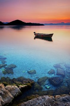 Beautiful sunrise on the Adriatic Sea. Island of Mljet, Croatia www.casademar.com