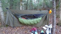 An insulated underquilt can be used to provide bottom insulation for a hammock sleeper in cold weather
