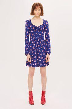 Blue Floral Print Sweetheart Neckline Skater Dress - Dresses - Clothing - Topshop