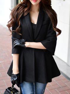 Shop Coats - Black 3/4 Sleeve Wool Blend Lapel Ruffled Coat online. Discover unique designers fashion at StyleWe.com.