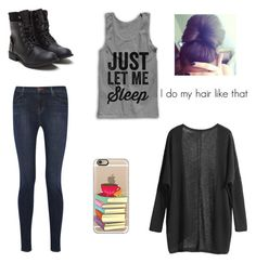 """""""Just let me sleep and no one gets hurt"""" by alwaysapotter-head ❤ liked on Polyvore featuring J Brand and Casetify"""