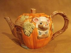Teapot Collectibles | Pumpkin and Mouse Teapot Fitz and Floyd by YBINUCAROL on Etsy