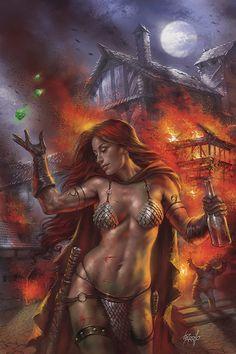 Lucio Parrillo, Red Sonja-Birth of the She-Devil Dynamite, Fantasy Art Women, Beautiful Fantasy Art, Dark Fantasy Art, Fantasy Girl, Fantasy Artwork, Fantasy Female Warrior, Female Art, Fantasy Character Design, Character Art
