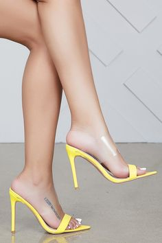 Dream On Pointed Toe Mule (Yellow) Sexy Legs And Heels, Hot High Heels, High Heel Boots, Designer High Heels, Pantyhose Heels, Beautiful High Heels, Clear Heels, Sexy Toes, Women's Feet