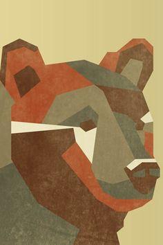 Fondo de Pantalla de oso polígonos para iPhone #ilustracion #oso #iphone #animal