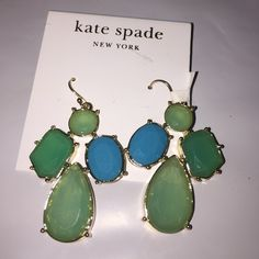 Kate Spade New York Blue Aqua Dangle Earrings NEW New with tags. Authentic. Kate Spade dangle 14k gold filled earrings. Blue and Aqua and gold. All Kate Spade jewelry items come with a Kate Spade dust bag!! kate spade Jewelry Earrings