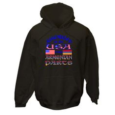 "Funny design created to bring laughter to those with a sense of humor, but at the same time, honoring your Armenian American culture, ancestry and heritage.  Design shows Flags of Armenia and the United States of America. Reads, ""Assembled in the USA using Armenian parts.""  Great gift for new baby or any Armenian-American with a birthday. Or, just get one because! $75.99 ink.flagnation.com Looks great on this black hoodie. Design by @Auntie Shoe."