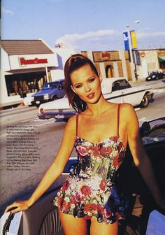 US Vogue | April 1995 | The Rose Bowl Model: Kate Moss Photographer: Arthur Elgort Stylist: Brana Wolf Hair: Serge Normant Makeup: Sonia Kashuk