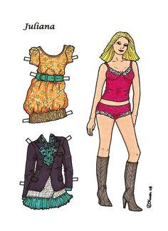 Karen`s Paper Dolls: Juliana 1-8 Paper Doll in Colours. Juliana 1-8 påklædningsdukke i farver.