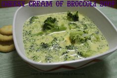 Cheesy Cream of Broccoli Soup - a thick, hearty #soup that's loaded with cheese and broccoli!