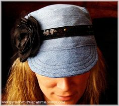 Sisters of the Wild West: Free Printable Pattern and Tutorial: Upcycled Jeans into an Adult Military Hat with flower AND GIVEAWAY! Club Couture, Denim Hat, Hat Tutorial, Denim Crafts, Jean Crafts, Denim Ideas, Recycled Denim, Recycled Fashion, Diy Fashion
