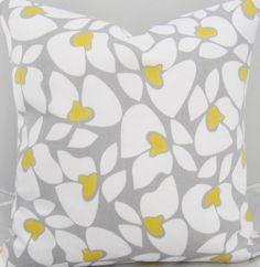 Grey Yellow Decorative Throw Pillow Cover by DeliciousPillows, $25.00