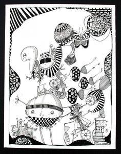 www.artunika.dk / www.artunika.com Sort Hvid #1 - 25 x 32. En original kunst tegning af kunstner Marianne Stenberg. Tegningen kommer ikke indrammet.  Kunstner Marianne Stenberg arbejder primært på papir, hvorpå hun skaber tusch-tegninger med kalligrafi-pen. Steenberg er kendt for hendes st...