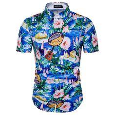 Summer 3D Print Beach Shirt Men 2017 Short Sleeve Palm Tree Hawaiian Shirt Man Casual Slim Fit Cotton Camisetas Masculina Shirts #Affiliate