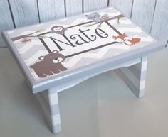 Artisan hand painted custom wooden step stool  by Alphadorable