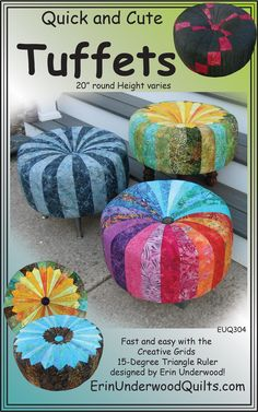 Quick and Cute Tuffets By Underwood, Erin  - 18in round - Height varies. Fast and fun tuffets are truly quick and cute! They come together in one day with the Creative Grids 15-Degree Triangle Ruler! (CGREU1)