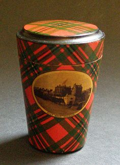 McGregor - A vintage Mauchline Tartan Ware drinking glass box. It's decorated with the 'McGregor' tartan and a view of Quay Head, Gourock. The box contains a small drinking glass. This wooden treen box dates from around the late 19th and early 20th century.
