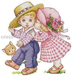 Boy & girl, found on : http://www.abzerd.com/123-cross-stitch-free-download.htm
