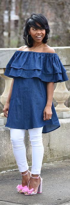 Denim, White Jeans, Bow Sandals, Med length hair, Shirtdress