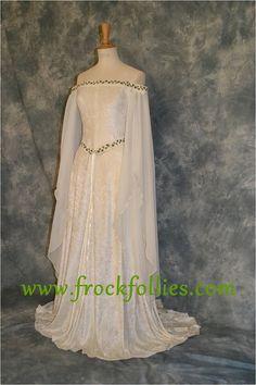 Guinevere, an Elegant  Embroidered Medieval, Elvish, Pre-Raphaelite Handfasting Dress.