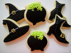 Assorted Halloween Cookies - Witch Hat, Cauldron, Boot - Iced Sugar Cookies - 1 Dozen on Etsy, $33.00