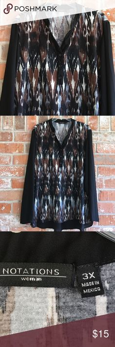 """Beautiful Top By Notations Plus Size This top is so pretty. It has chiffon like sleeves and back trim. It is about 2"""" longer in back. Great for fall/ winter💜💕💕it measures 26"""" underarm to underarm and is 31"""" long in front. So cute with leggings! 💕 Notations Tops Blouses"""