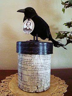 DIY: Prim Raven Poe Box - Dollar Store Crafting Halloween: Beware the Birds! Theme Halloween, Halloween Projects, Holidays Halloween, Vintage Halloween, Halloween Crafts, Halloween Decorations, Halloween Ideas, Halloween Raven, Whimsical Halloween