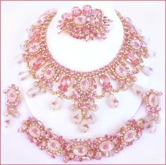 Tickled Pink - 2009 DiMartino Originals is the signature of a Tennessee artist . - Tickled Pink – 2009 DiMartino Originals is the signature of a Tennessee artist who has been maki - India Jewelry, Jewelry Sets, Women Jewelry, Jewelry Making, Pink Jewelry, Silver Jewellery, Jewlery, Rhinestone Jewelry, Bridal Jewelry