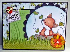 Stamps used: Autumn fox kit, feathers and flourish, everyday mini postage sentiments - all by whimsy stamps. Card created by Ellie