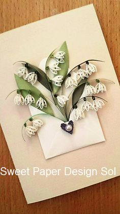 Paper Quilling Lilly of Valley Flower bouquet in Envelope - Wedding,bridal shower,love card,Mothers day,Happy Birthday, Anniversary Card