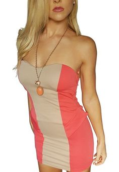 Coral and tan colorblock dress