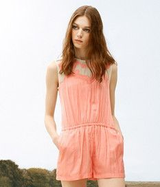 Embroidery Short Girl Jumpsuit Orange Lake Blue