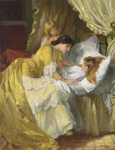 Mary Louisa Gow(1851ー1929)「A kiss goodnight」(1884)