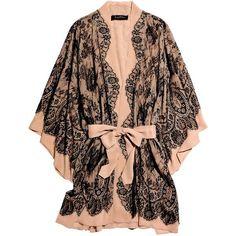 Jenny Packham Lace-appliquéd silk-chiffon robe (£1,255) ❤ liked on Polyvore featuring intimates, robes, lingerie, underwear, pajamas, women, kimono dressing gown, lingerie robe, sheer lace lingerie and lacy lingerie - nd intimates, vinyl lingerie, lingerie corset *ad