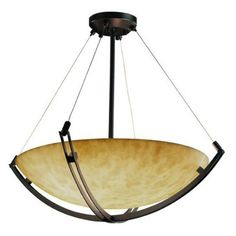 Justice Design Clouds CLD-9722-35 Crossbar 24 in. Pendant Bowl with Round Bowl Shade